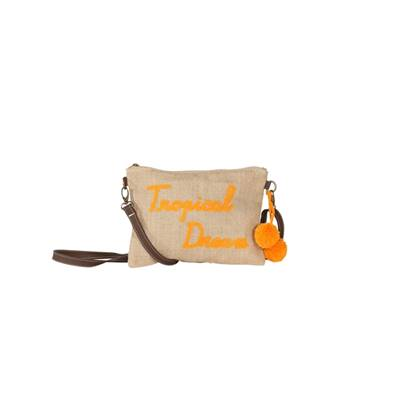 Sac Porté Travers Jute Message - Tweet Tropical Dream - Orange