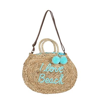 Panier rond Message - Story I love beach - Turquoise