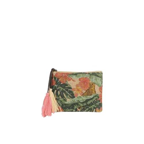 Pochette jute imprimé tropical tendance - MINI JUNGLE Jaguar