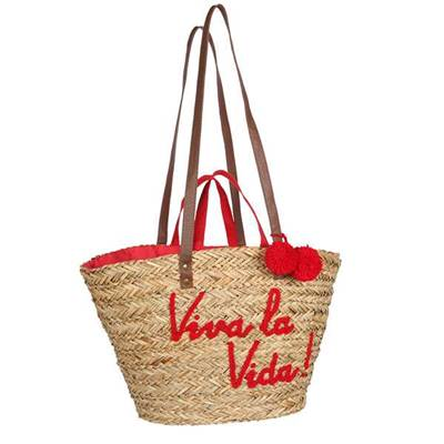 Panier double anse message brodé - MESSAGE Rouge